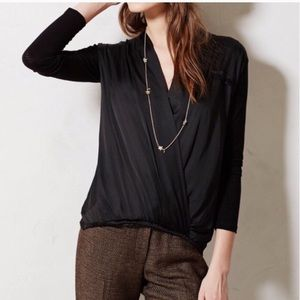 Anthropologie Dolan Saros Cross Front Black Top